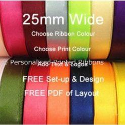 1000 metres of 25mm Personalised Printed Ribbon