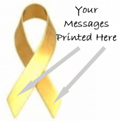Gold printed charity ribbons