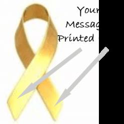 Gold printed charity ribbons