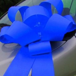right Blue Big Rosette style car bow, ready for immediate dispatch