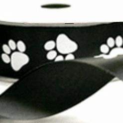 white paw printed ribbon