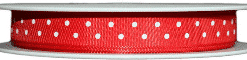 red polka dot printed ribbons