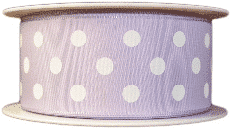 Lilac  polka dot printed ribbons