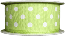 Lime Green  polka dot printed ribbons