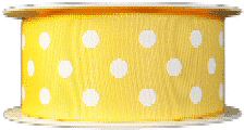 Yellow polka dot printed ribbons