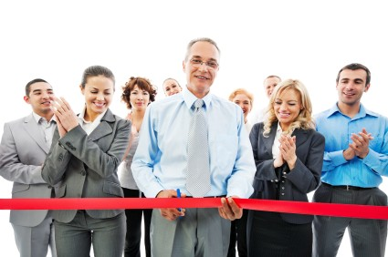 Red Satin ribbon cutting ceremony