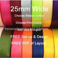 75 metres of 25mm Personalised Printed Ribbon