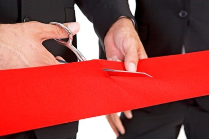 Red Satin wide ribbons for ribbon cutting ceremonies