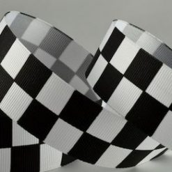 Black & White Checked Racing Ribbon, 25mm Wide, 20 metre Roll