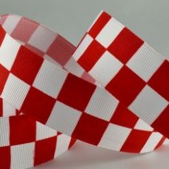 Red Checked Racing Ribbon, 25mm Wide, 20 metre Roll
