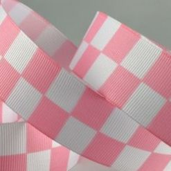 Pale Pink Checked Racing Ribbon, 25mm Wide, 20 metre Roll