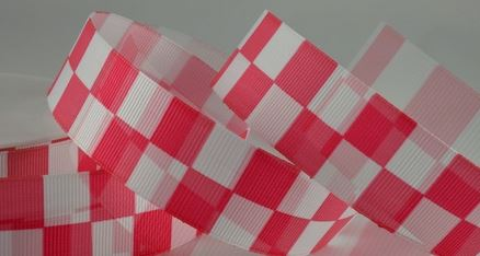 Bright Pink Checked Racing Ribbon, 25mm Wide, 20 metre Roll