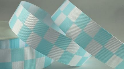 Pale Blue Checked Racing Ribbon, 25mm Wide, 20 metre Roll