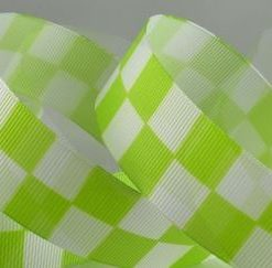 Green Checked Racing Ribbon, 25mm Wide, 20 metre Roll