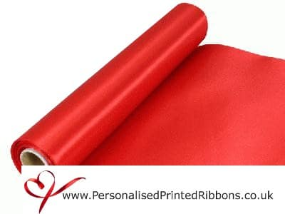 290mm wide red satin wibbon 20 metre roll + £40 +VAT