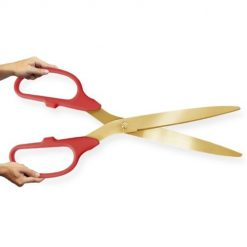 Large Ceremonial Scissors Red Handle - Gold blades - 36 inches Long