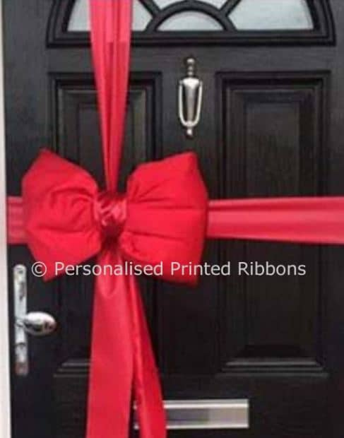 Red Satin Padded Door Bow & Christmas Door Bows - Next Day Delivery