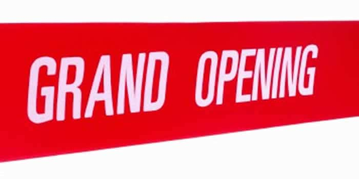 Grand Opening Printed Red Wide Ribbon