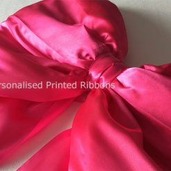 Shoelace Style Bright Pink Satin Bow