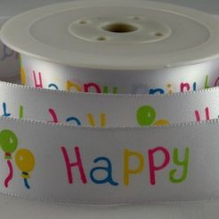 Happy Birthday Balloons Ribbon - 25mm