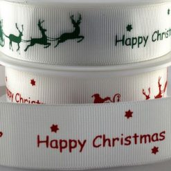 Happy Christmas Ribbon with Santa Sleigh Ribbon