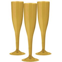Gold Plastic Champagne Flutes