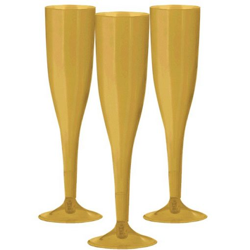 Gold Plastic Champagne Flutes