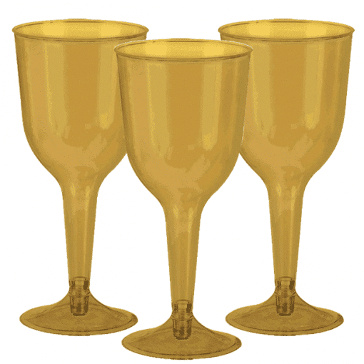 Gold Plastic Wine Glasses